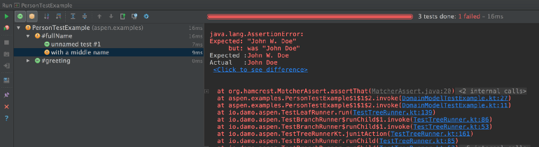 Output from running the test above in IntelliJ IDEA.